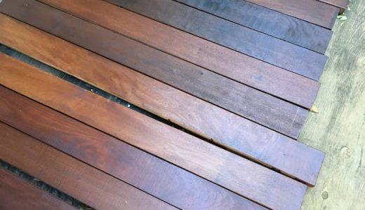ウッドデッキ材・イタウバにオスモカラー・ローズウッドを2度塗りする